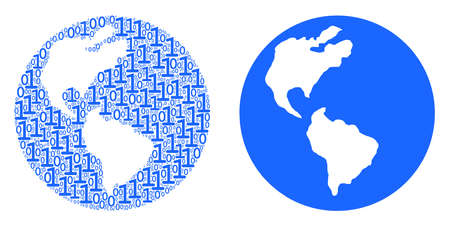 Earth mosaic icon of one and zero digits in various sizes. Vector digits are scattered into Earth composition design concept.