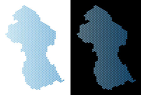 Hexagonal Guyana map. Vector territorial plan in light blue color with horizontal gradient on white and black backgrounds. Abstract Guyana map composition is consisting of honeycomb blots. Illustration