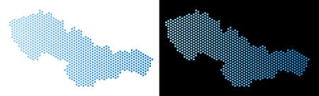Hex-Tile Czechoslovakia map. Vector territory scheme in light blue color with horizontal gradient on white and black backgrounds. Abstract Czechoslovakia map composition is containing hexagon blots.