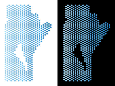 Hex Tile Manitoba Province map. Vector territory plan in light blue color with horizontal gradient on white and black backgrounds. Illustration