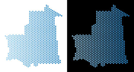 Hexagon Mauritania map. Vector territorial scheme in light blue color with horizontal gradient on white and black backgrounds. Abstract Mauritania map concept is made from hex-tile items.