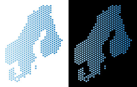 Hex Tile Scandinavia map. Vector geographic plan in light blue color with horizontal gradient on white and black backgrounds. Abstract Scandinavia map concept is composed from hexagon spots.