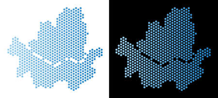 Hexagon Seoul city map. Vector territorial scheme in light blue color with horizontal gradient on white and black backgrounds. Abstract Seoul city map concept is containing hex-tile spots.
