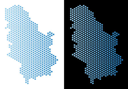 Hex-Tile Serbia map. Vector territory scheme in light blue color with horizontal gradient on white and black backgrounds. Abstract Serbia map composition is made from honeycomb elements.