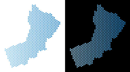 Hex Tile Oman map. Vector territorial plan in light blue color with horizontal gradient on white and black backgrounds. Abstract Oman map concept is composed from hexagon blots.