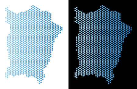 Hex-Tile Penang Island map. Vector territorial scheme in light blue color with horizontal gradient on white and black backgrounds. Abstract Penang Island map concept is combined of honeycomb pixels.