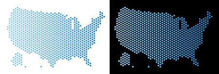 Honeycomb USA with Alaska map. Vector geographic plan in light blue color with horizontal gradient on white and black backgrounds.