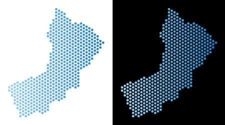 Hex-Tile Yemen map. Vector territory plan in light blue color with horizontal gradient on white and black backgrounds. Abstract Yemen map composition is composed from hex tile elements.