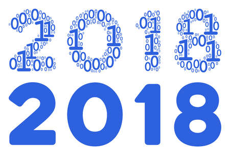 2018 year text mosaic icon of binary digits in randomized sizes. Vector digit symbols are composed into 2018 year text mosaic design concept. Иллюстрация