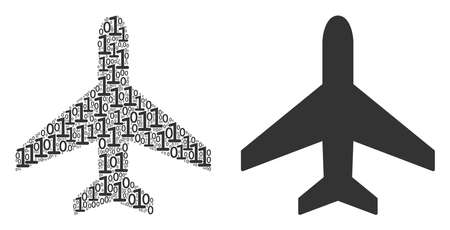 Air plane mosaic icon of zero and one symbols in randomized sizes. Vector digits are randomized into air plane composition design concept.