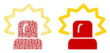 Alarm composition icon of zero and null digits in randomized sizes. Vector digital symbols are united into alarm composition design concept.