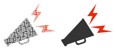Alert megaphone collage icon of one and zero digits in randomized sizes. Vector digit symbols are combined into alert megaphone illustration design concept.