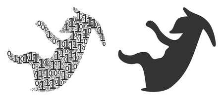 Alien embryo composition icon of zero and null digits in random sizes. Vector digital symbols are arranged into alien embryo illustration design concept. Illustration