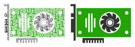 Video GPU card composition icon of zero and one symbols in different sizes. Vector digit symbols are scattered into video GPU card mosaic design concept. Illustration