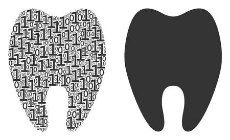 Tooth mosaic icon of one and zero digits in random sizes. Vector digit symbols are composed into tooth collage design concept. Иллюстрация