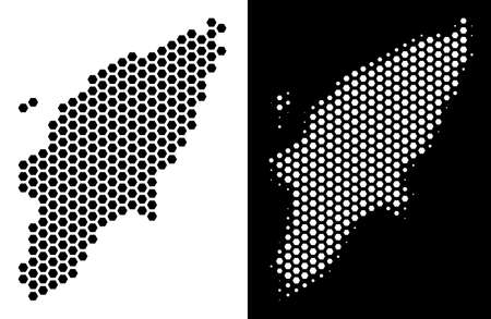 Hex-Tile Greek Rhodes Island map. Vector geographic plan in black and white versions. Abstract Greek Rhodes Island map concept is composed from hex-tile pixels.