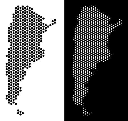 Honeycomb Argentina map. Vector geographic scheme in black and white variants. Abstract Argentina map composition is formed from honeycomb blots.