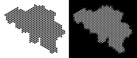 ベルギーの六角形のマップ。黒と白のバージョンのベクター地理スキーム。抽象的なベルギー地図コンセプトは六角形のアイテムを組み合わせたものです。