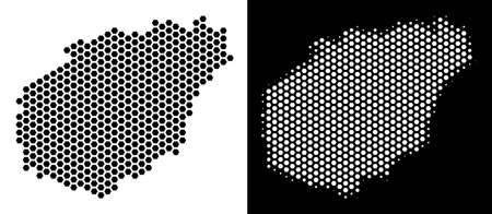 Hexagon Hainan Island map. Vector geographic scheme in black and white versions. Abstract Hainan Island map mosaic is formed from hex tile dots. Ilustrace