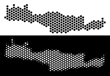 Hex Tile Crete Island map. Vector geographic plan in black and white variants. Abstract Crete Island map composition is containing hexagonal dots. 向量圖像