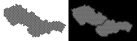 Honeycomb Czechoslovakia map. Vector geographic scheme in black and white variants. Abstract Czechoslovakia map mosaic is designed with hex tile items. Çizim