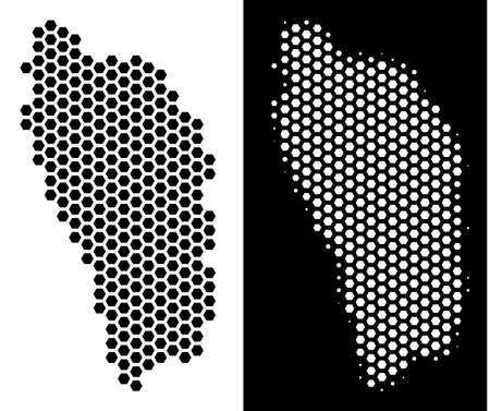 Honeycomb Dominica Island map. Vector territory plan in black and white variants. Abstract Dominica Island map concept is formed from hexagon pixels. 向量圖像