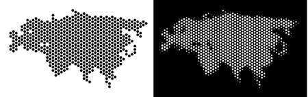 Hex Tile Eurasia map. Vector territory scheme in black and white variants. Abstract Eurasia map concept is composed from hexagonal blots.