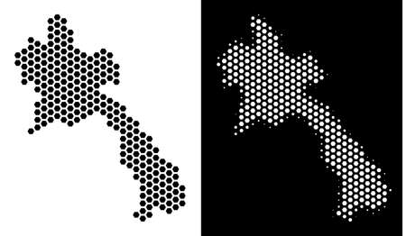Hex Tile Laos map. Vector geographic plan in black and white variants. Abstract Laos map mosaic is composed from honeycomb elements.