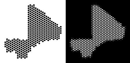 Honeycomb Mali map. Vector geographic scheme in black and white versions. Abstract Mali map concept is consisting of honeycomb spots.