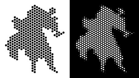 Honeycomb Peloponnese Peninsula map. Vector territorial scheme in black and white variants. Abstract Peloponnese Peninsula map composition is composed from hex tile dots.