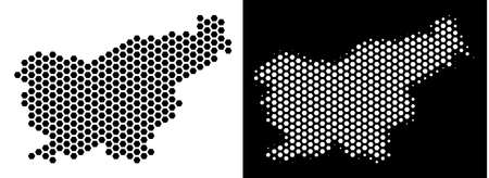 Hex Tile Slovenia map. Vector territory scheme in black and white versions. Abstract Slovenia map concept is created from hex tile items.