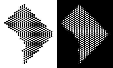 Honeycomb Washington DC map. Vector geographic scheme in black and white versions. Abstract Washington DC map composition is composed from hex-tile spots.