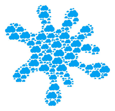 Splash composition formed of cloud objects in various sizes. Abstract vector splatter concept. Cloud icons are arranged into splash shape.