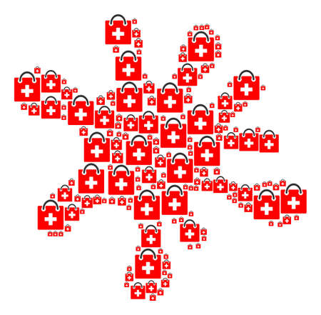 Splash area formed of first aid kit icons in various sizes. Abstract vector drip representaion. First aid kit icons are combined into spot figure.