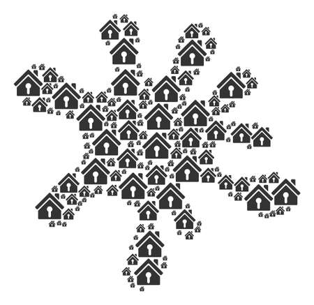 Splash composition constructed of home keyhole elements in various sizes. Abstract vector splatter illustration. Home keyhole icons are combined into blob shape.