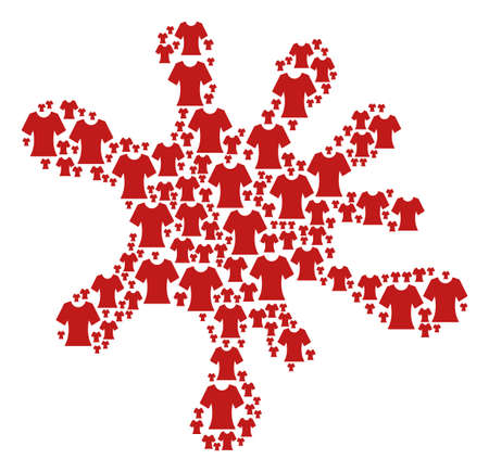 Spot shape composed from lady T-shirt items in different sizes. Abstract vector blob representaion. Lady T-shirt icons are formed into splatter figure.