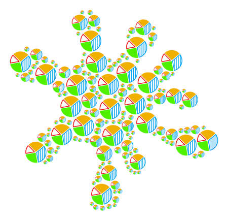 Spot mosaic composed from pie chart objects in different sizes. Abstract vector blob concept. Pie chart icons are organized into blob region.