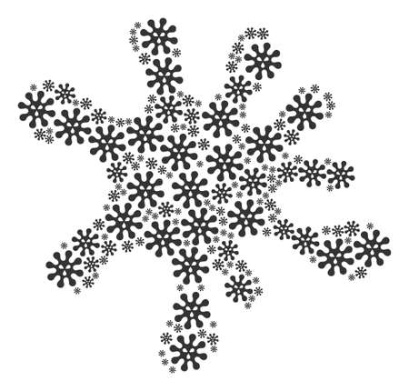 Splash composition made from virus items in different sizes. Abstract vector blob concept. Virus icons are grouped into blob figure.
