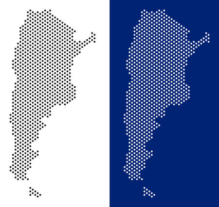 Dotted Argentina map. Vector geographic map on white and blue backgrounds. Vector composition of Argentina map constructed from round dots.  イラスト・ベクター素材