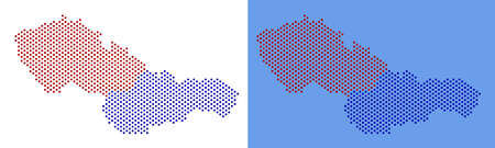 Dotted Czechoslovakia map. Vector geographic map on white and blue backgrounds. Vector collage of Czechoslovakia map created of round spots.