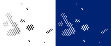 Dot mapa de las Islas Galápagos. Mapa geográfico del vector sobre fondos blancos y azules. Mosaico vectorial del mapa de las Islas Galápagos creado a partir de píxeles esféricos.