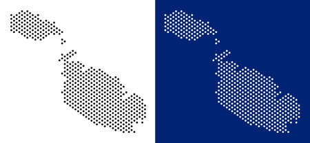 Dot Malta Island map. Vector geographic map on white and blue backgrounds. Vector collage of Malta Island map done from sphere items.