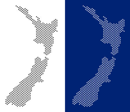 Dot New Zealand map. Vector geographic map on white and blue backgrounds. Vector mosaic of New Zealand map created from spheric dots.