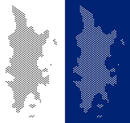 Dot Phuket map. Vector geographic map on white and blue backgrounds. Vector composition of Phuket map done from round spots.
