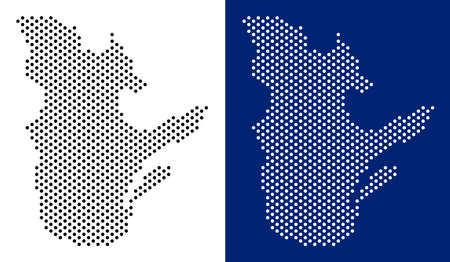 Pixel Quebec Province map. Vector geographic map on white and blue backgrounds. Vector collage of Quebec Province map designed of circle blots.