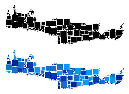 Dot Crete Island map versions. Abstract geographic scheme variant designed with blue color variations. Vector composition of Crete Island map done of randomized square and round items. Illustration