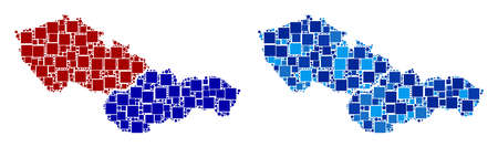 Dotted Czechoslovakia map variants. Abstract geographic scheme variant done with cold blue color tinges. Vector composition of Czechoslovakia map done of random square and spheric elements.
