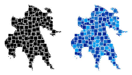 Dot Peloponnese Peninsula map versions. Abstract geographic scheme variant designed with cold blue color tinges.