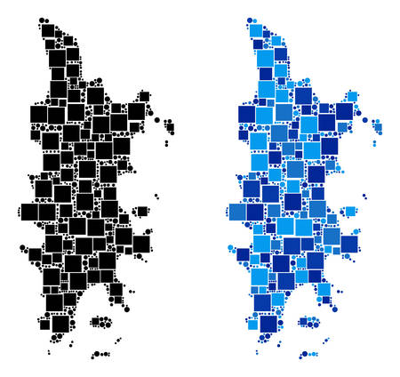 Dotted Phuket map versions. Abstract geographic scheme version done with blue color tones. Vector composition of Phuket map constructed of random square and round parts.