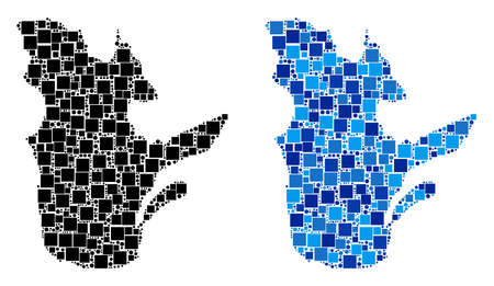 Dot Quebec Province map versions. Abstract geographic map version done with blue color hues. Vector composition of Quebec Province map done with scattered rectangle and round dots.